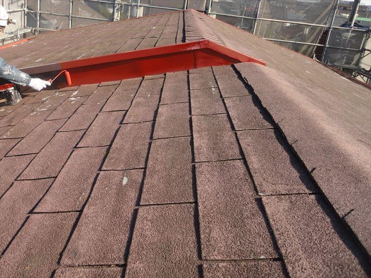 屋根鉄部 錆止め塗り
