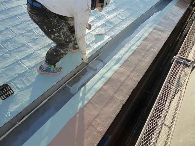屋根ウレタン部 ウレタン塗膜防水1層目