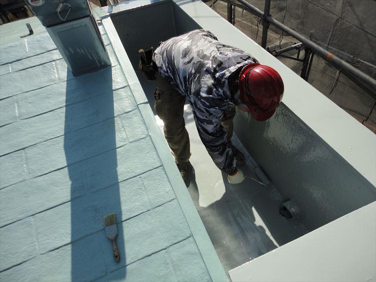 屋根ウレタン部 ウレタン塗膜防水2層目