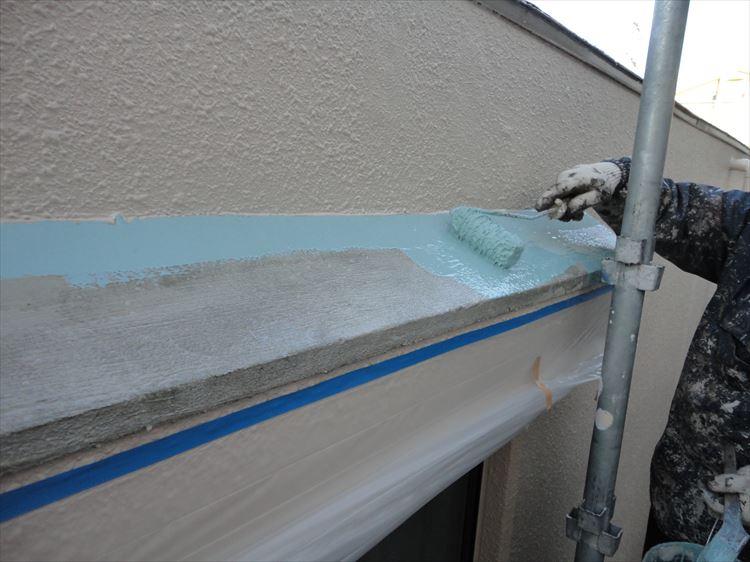 庇屋根 防水工事 ウレタン塗膜防水1層目