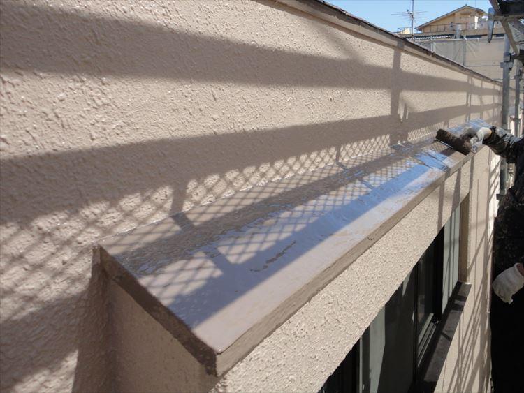 庇屋根 防水工事 ウレタン塗膜防水 トップコート上塗り(2回目)