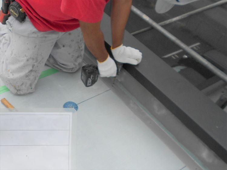 屋上防水工事 鋼板取付