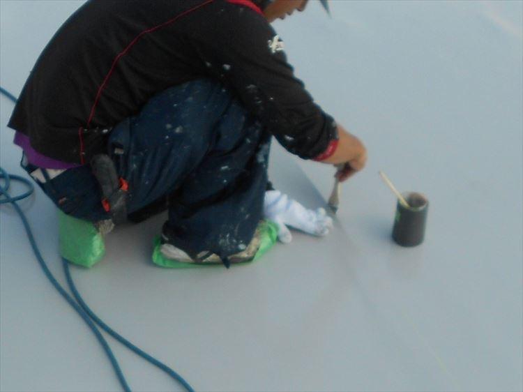 屋上防水工事 塩ビシート貼付