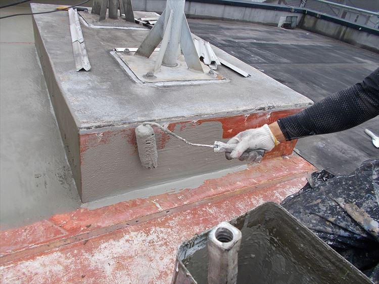 屋上架台部 下地調整仮防水