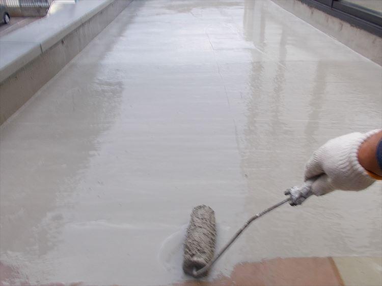 庇屋根防水工事 下地調整仮防水