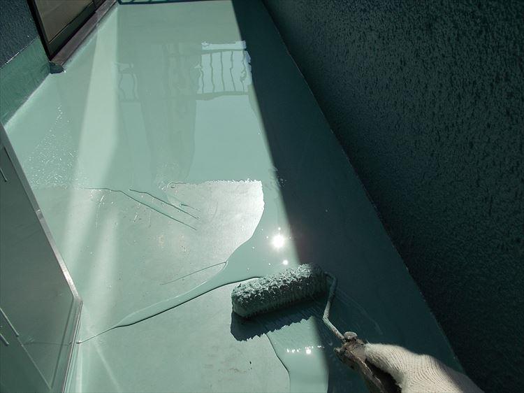 バルコニー防水工事 ウレタン塗膜防水2層目