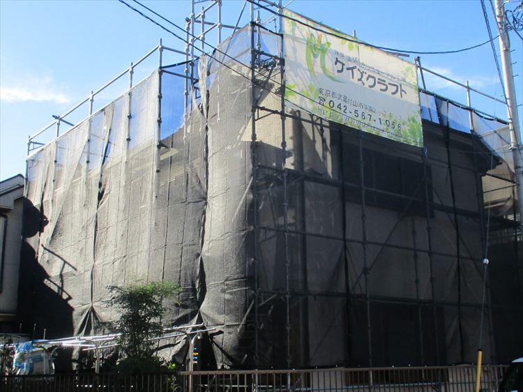 外部塗装工事 架設足場設置