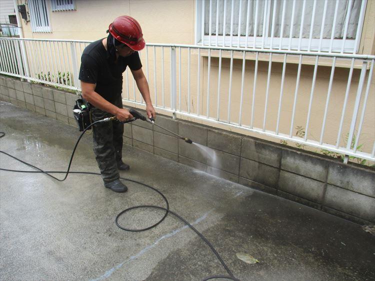 下地清掃 高圧水洗浄